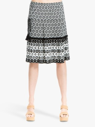 Max Studio Border Print Skirt, Black
