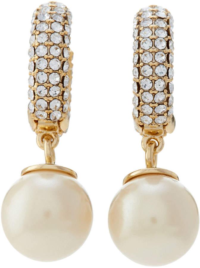 Carolee Gold-Tone Faux Pearl Drop Hoop Earrings