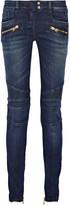 Balmain Moto-style Low-rise Skinny Jeans - Blue