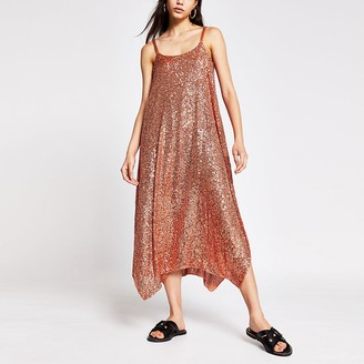 River Island Rust sequin cami dress