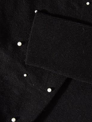 Quiz Knit Pearl Puff Sleeve Jumper - Black