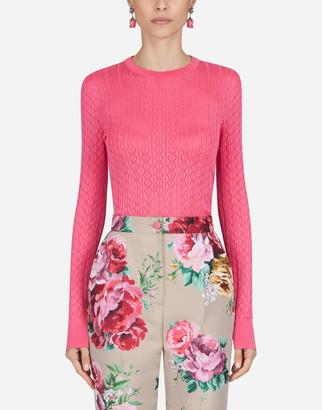 Dolce & Gabbana Crew Neck Lace Sweater