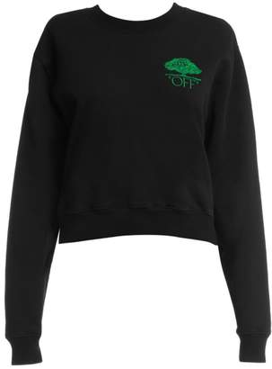 Off-White Off White Off Tree Cropped Crewneck Sweater