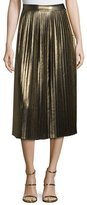 Elizabeth and James Lucy Pleated Lamé Midi Skirt, Gold