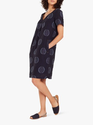 White Stuff Ondine Spot Print Shift Dress, Navy