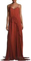 Elizabeth and James Catriona Sleeveless Silk Drawstring Ruffle Gown, Brick