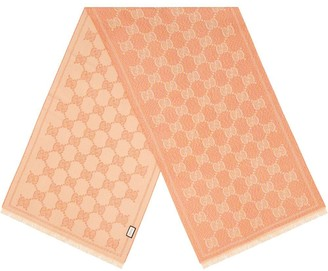 Gucci Pink & Beige Iconic Logo Print Scarf