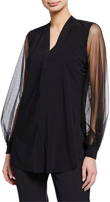 Chiara Boni Serilda Blouson-Sleeve Illusion Top
