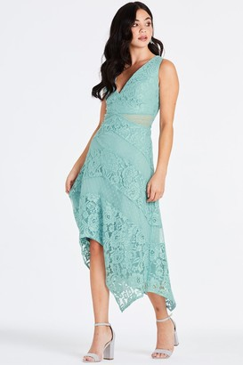 Little Mistress Monet Sage Lace Plunge Midaxi Dress