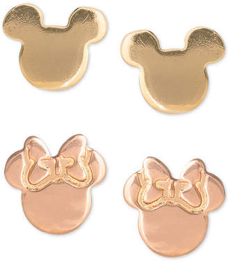 Disney Children 2-Pc. Set Mickey & Minnie Stud Earrings in 18k Gold- & 18k Rose Gold-Plated Sterling Silver