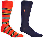 Polo Ralph Lauren Multi-Colored Stripe Crew Dress Socks 2-Pack