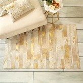 The Well Appointed House Golden Natural Cowhide Area Rug in Metallic Gold