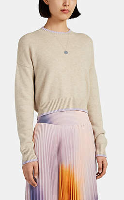Barneys New York Women's Tipped Cashmere Crop Sweater - Beige, Tan