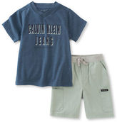 Calvin Klein Two-Piece Knit T-Shirt and Shorts Set