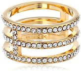 "Trina Turk Discreet Opulence"" Gold-Plated Crystal Pave Triple Band Ring, Size 7"