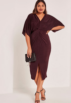 Missguided Purple Plus Size Slinky Kimono Midi Dress