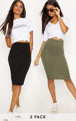 PrettyLittleThing Basic Black & Grey Jersey Midaxi Skirt 2 Pack