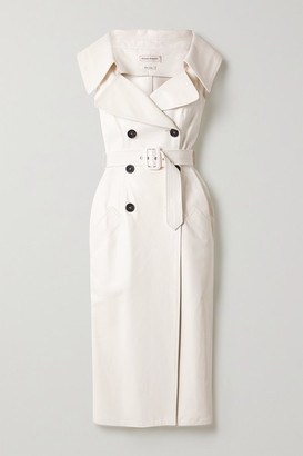 Alexander McQueen Belted Double-breasted Leather Midi Dress - White