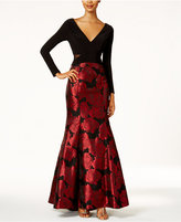 Xscape Evenings Illusion Floral Brocade Mermaid Gown
