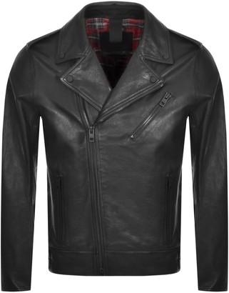 BOSS Casual Jubino Leather Jacket Black