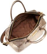 Charles Jourdan Aubrey Crocodile-Embossed Satchel Bag, Gold