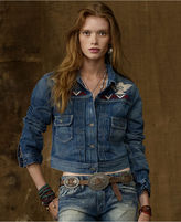 Denim & Supply Ralph Lauren Jacket, Rothbury Crescent Long-Sleeve Medium-Wash Embroidered Trucker Jean