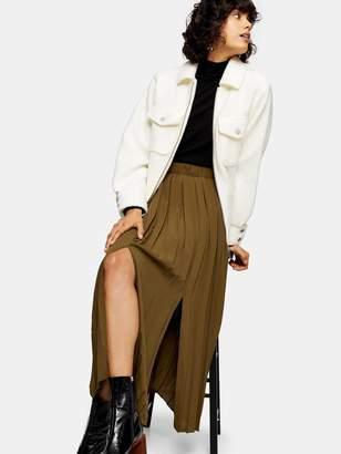 Topshop Satin Pleat Midi Skirt - Khaki