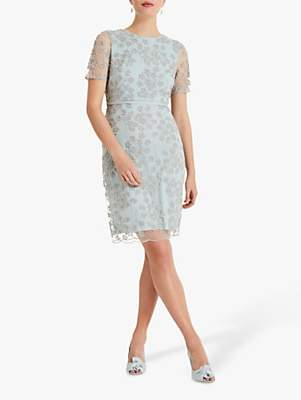 Phase Eight Anika Beaded Lace Dress, Mineral/Silver
