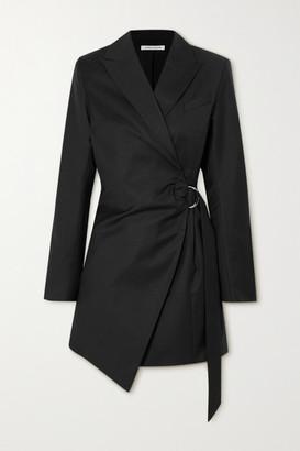 ANNA QUAN - Valentina Draped Wool Wrap Mini Dress - Black