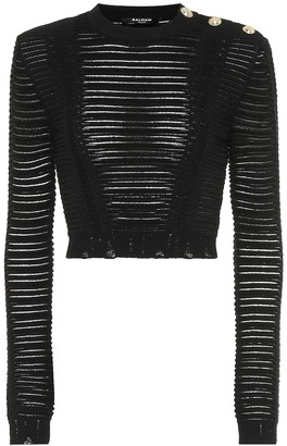 Balmain Cropped knit top