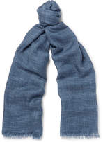 Loro Piana Herringbone Cashmere And Silk-blend Scarf - Blue