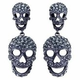 Butler & Wilson Large Black Diamond Double Skull Drop Earrings