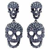 Butler & Wilson Large Black Diamond Double Skull Drop Earrings