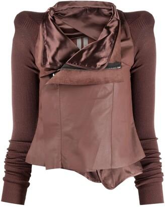 Rick Owens Ribbed-Panel Leather Jacket