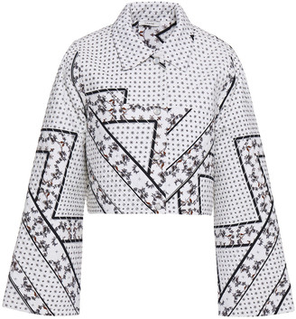 Ganni Quilted Printed Bonded Cotton Jacket