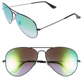 Ray-Ban Women's Large Icons 62Mm Aviator Sunglasses - Black/ Green