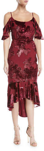 Marchesa Cold-Shoulder Velvet Burnout Cocktail Dress with Flounce