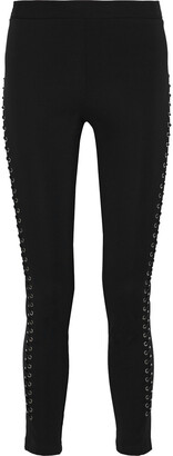 Roberto Cavalli Lace-up Stretch-knit Leggings