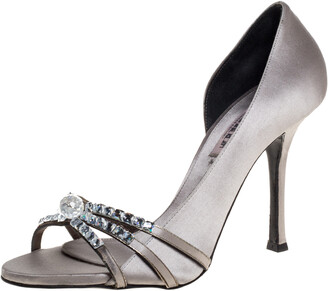 Le Silla Grey Satin Crystal Embellished Strappy Sandals Size 38