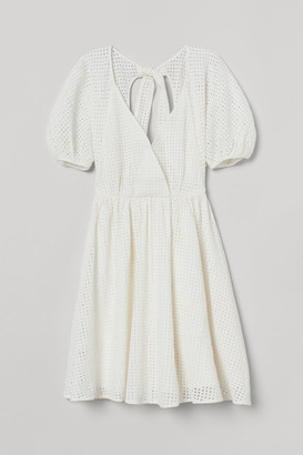 H&M Puff-sleeved Dress - White