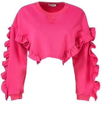 AMUR Anastasia Ruffle Crop Sweatshirt