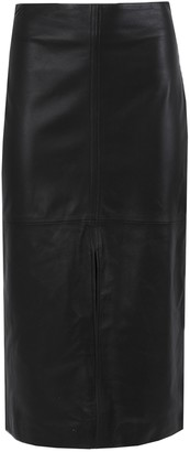 Co Front Slit Leather Pencil Skirt