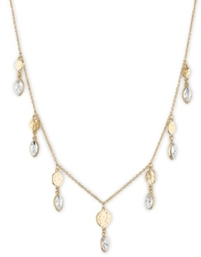 "Rachel Roy Gold-Tone Hammered Disc & Crystal Statement Necklace, 15-1/2"" + 3"" extender"