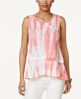 Style&Co. Style & Co Cotton Tie-Dyed Flounce-Hem Top, Only at Macy's