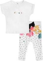Catimini Baby Girls White Bee Top & Floral Trousers Set