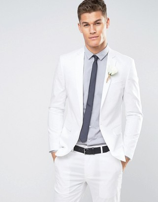 Asos Design DESIGN wedding skinny suit jacket in stretch cotton in white