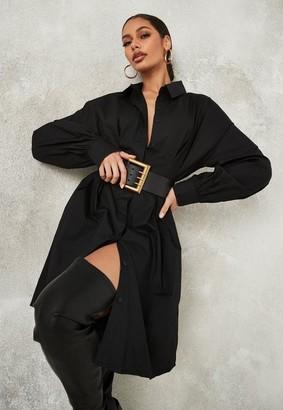 Missguided Tall Black Poplin Pleated Waist Shirt Dress