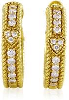 Judith Ripka 18K Yellow Gold Diamond Hoop Womens Earrings