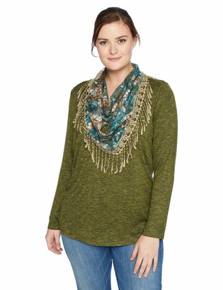 One World ONEWORLD Women's Plus-Size Long Sleeve Top with Printed Scarf