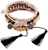GUESS Gold-Tone 5-Pc. Set Multi-Bead, Charm & Tassel Slider and Stretch Bracelets
